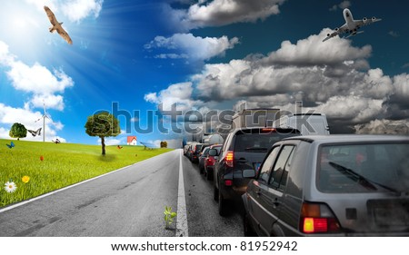 Diffference between car pollution and green environment - stock photo