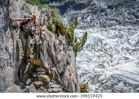 Difficult and dangerous rocky path towards Nanga Parbat base camp in Karakorum - stock photo