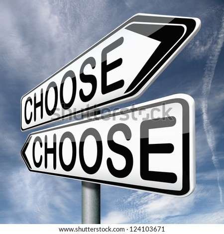 difficult choice or decision when you can't choose being doubtful or in doubt because of confusion you become insecure and indecisive act here and now - stock photo