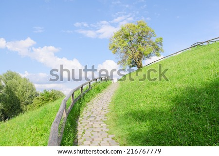 Difficult cobble stones path upward in direction to the top of green hill - stock photo