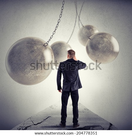 Difficult path like a videogame for a businessman - stock photo