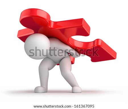 difficult solution, 3d human and a big red puzzle piece. 3d image with work path - stock photo