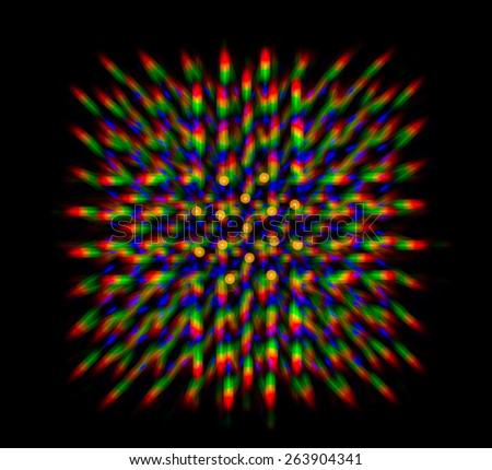 Diffraction of light LED matrix obtained by the diffraction grating - stock photo
