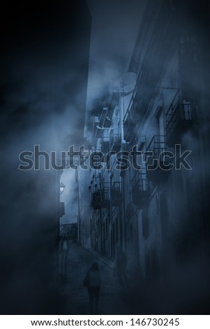 Diffuse entities walking in an old european halley during twilight or night - stock photo