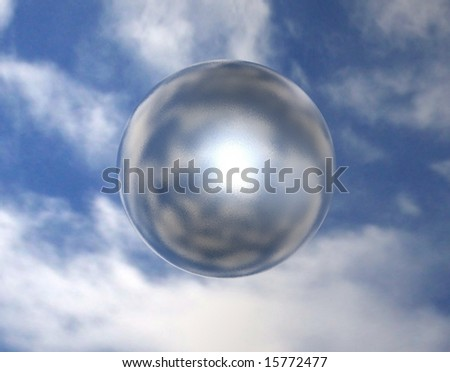 Diffused mirror sphere on sky background - stock photo