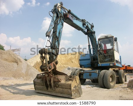 Digger at construction site