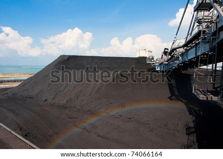Digger machine moving mass of coal to power electric plant to produce the electricity - stock photo