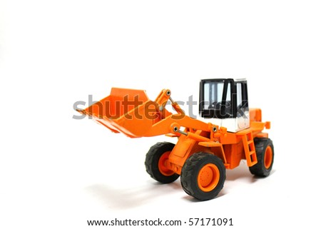 Digger on a white background. - stock photo