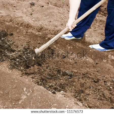 Digging a soil - stock photo