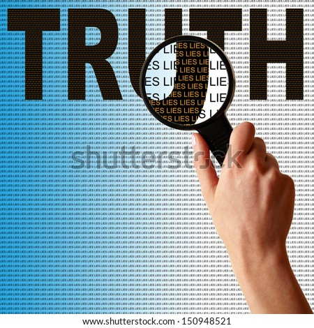 Digging deeper to the truth this person finds nothing but lies. - stock photo