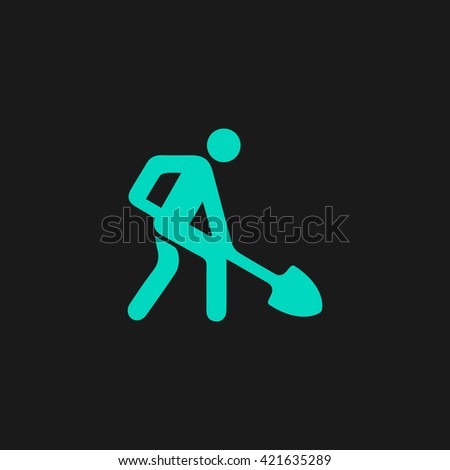 Digging man Flat icon on black background. Simple symbol - stock photo