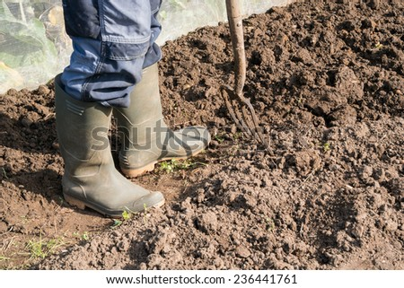 Digging Soil on an allotment - stock photo