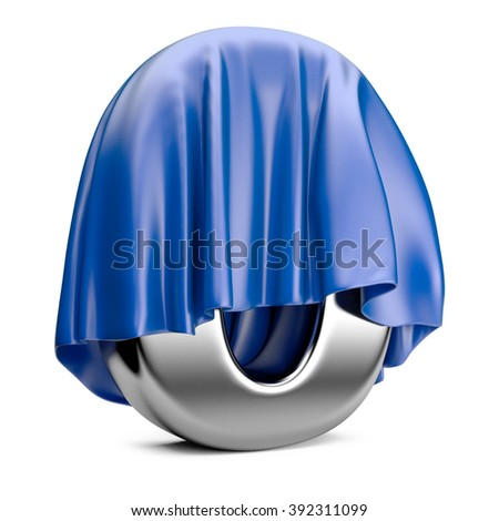 Digit a zero covered with blue cloth. 3d high resolution illustration