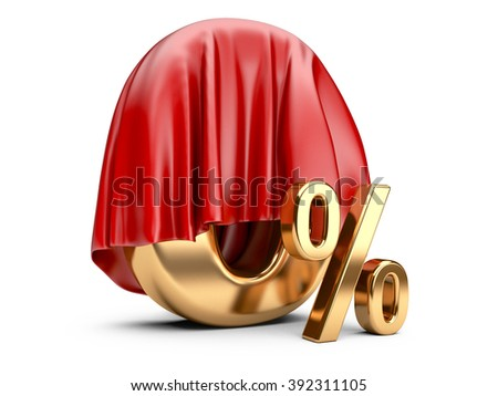 Digit a zero percent covered with cloth. 3d high resolution illustration