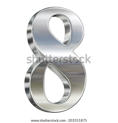 Digit figure eight 8 from chrome solid alphabet isolated on white - stock photo