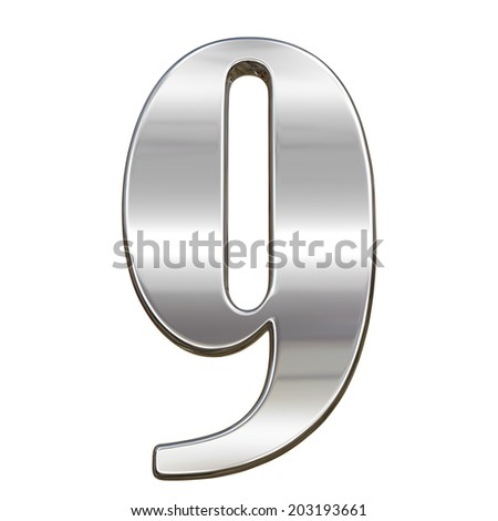 Digit figure nine 9 from chrome solid alphabet isolated on white - stock photo
