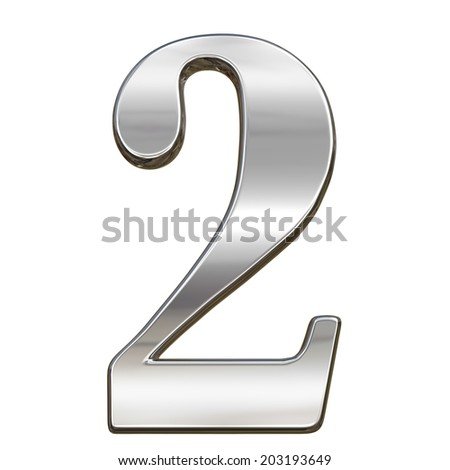 Digit figure two 2 from chrome solid alphabet isolated on white - stock photo