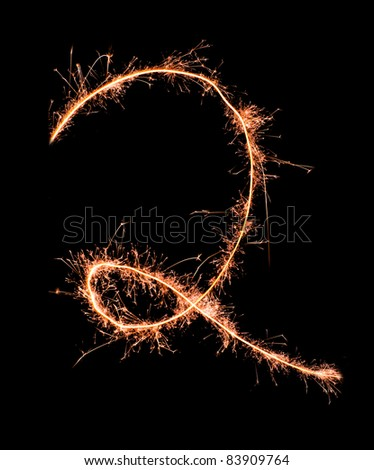 Digit 2 made of sparklers isolated on black - stock photo