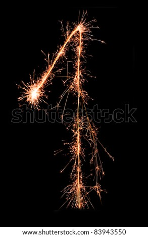 Digit 1 made of sparklers isolated on black - stock photo