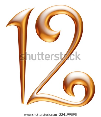 Digit number 1 & 2 in gold metal on white  - stock photo