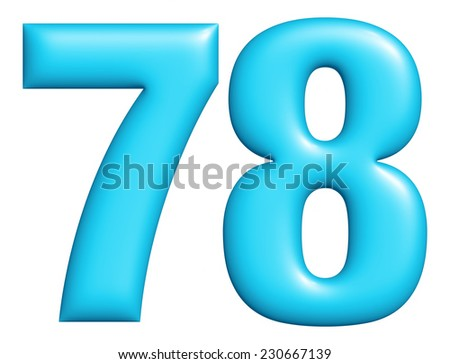 Digit number 7 & 8 isolated on white background  - stock photo