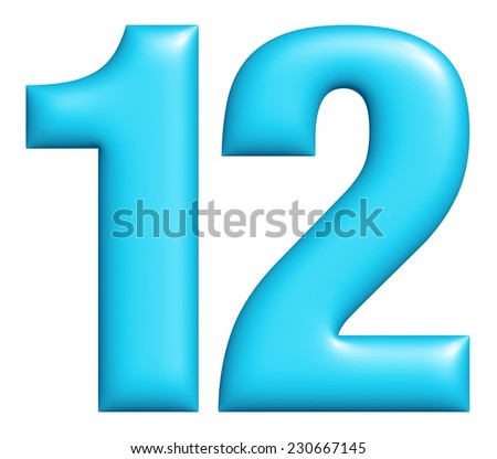 Digit number 1 & 2 isolated on white background  - stock photo
