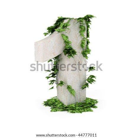 Digit one threads covered with ivy isolated on white background. - stock photo