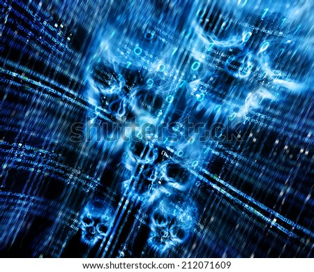 digital abstract background with skulls  - stock photo