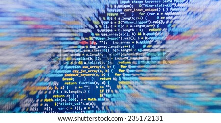 Digital abstract bits data stream, cyber pattern digital background. Selective focus. Gibberish, dummy, lorem ipsum text. Letters, chars, and digits. - stock photo