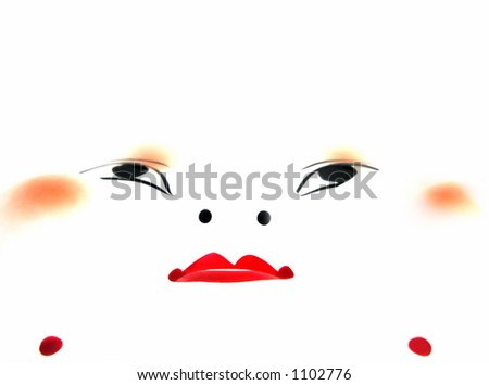 Digital abstract of a traditional Japanese mask. - stock photo