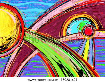 digital abstract painting composition, raster version - stock photo
