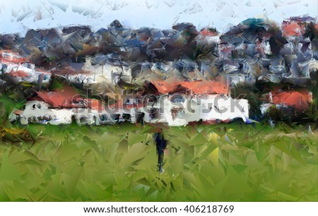 Digital abstract watercolour from a photograph of golfer playing in front of the Clubhouse of West Kilbride Golf Club, an 18 hole links course located on the North Ayrshire Coast of Scotland - stock photo