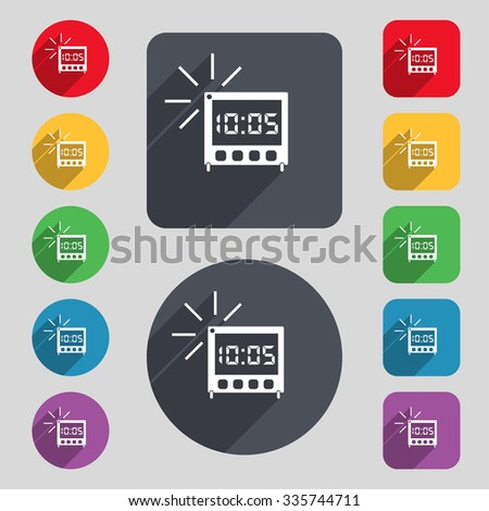 digital Alarm Clock icon sign. A set of 12 colored buttons and a long shadow. Flat design.  - stock photo
