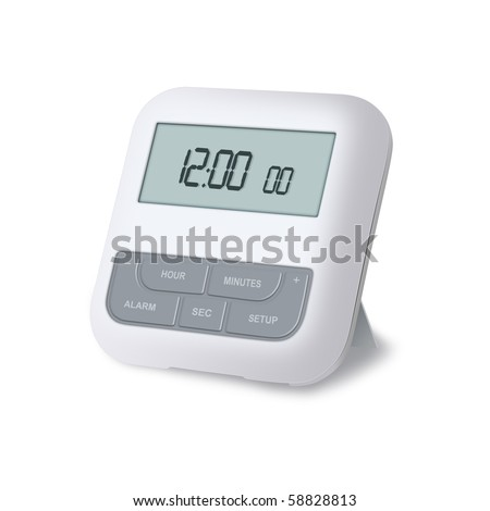 Digital alarm clock isolated on a white background - stock photo
