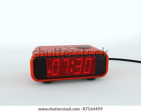 digital alarm clock isolated on white background - stock photo