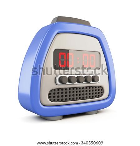 Digital alarm clock isolated on white background. 3d illustration. - stock photo
