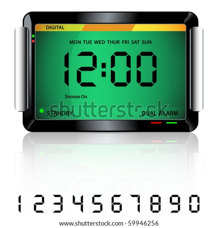 Digital alarm clock isolated on white with reflection and spare digital numbers. Vector also available. - stock photo