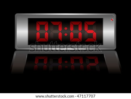 digital alarm clock with time to wake up and light reflection - stock photo