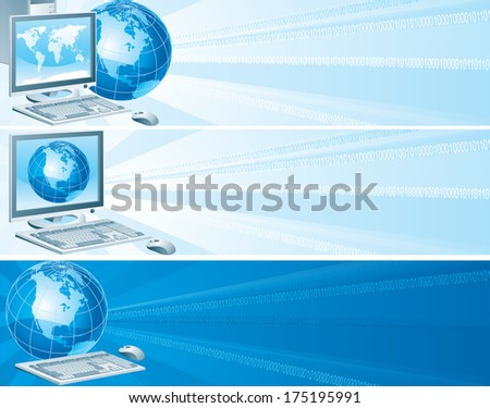 Digital America. Set of banners with computer, flat monitor,  mouse and  globe on an abstract background - stock photo
