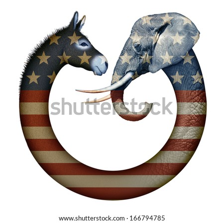 Digital and photo illustration of a donkey and elephant, representing democrats and republicans confronting each other. - stock photo
