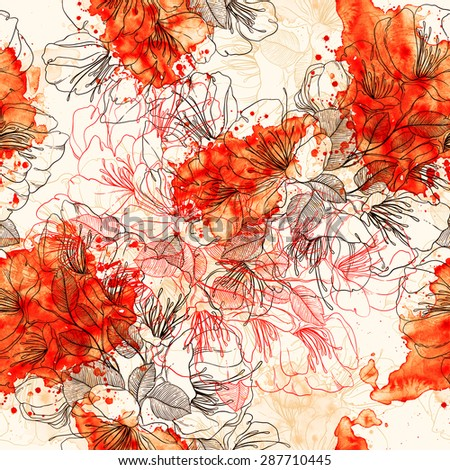 digital and watercolor asian flowers - seamless pattern