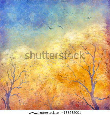 Digital art autumn landscape as oil painting. Grunge picture showing trees, brush strokes dramatic sky, flying migratory birds. Modern Impressionism. Artistic textured surface of the canvas - stock photo