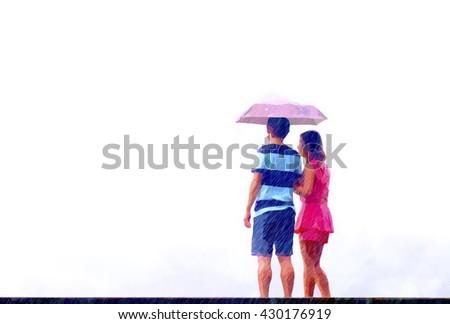 digital art,couples in the falling rain. - stock photo