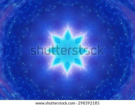 Digital Art: Fractal Graphics: The Brightest Star Shinning upon Darkness. You can put her/his name on it. Fantastic Topic / Wallpaper / Background / Scene Design. Sci-Fi / Abstract Style. - stock photo