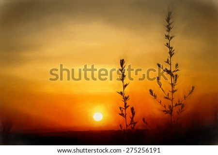 Digital art, paint effect, orange sunset with tall grass