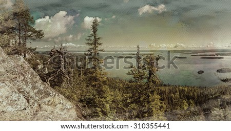 Digital art, paint effect, panoramic view from the top of the Koli national park to lake Pielinen - stock photo