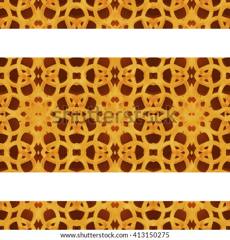 Digital art technique arabic or islamic style frame background with decorated geometric ornate arabesque orange stripes borders