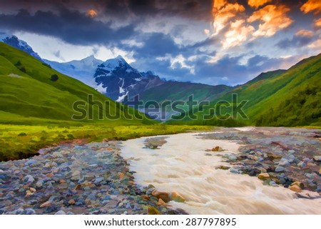 Digital artwork in watercolor painting style. Beautiful summer landscape in the mountains.  - stock photo