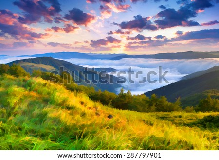 Digital artwork in watercolor painting style. Beautiful summer sunrise in the mountains.  - stock photo