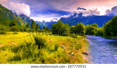 Digital artwork in watercolor painting style. Fantastic landscape with a blue river in the mountains.  - stock photo